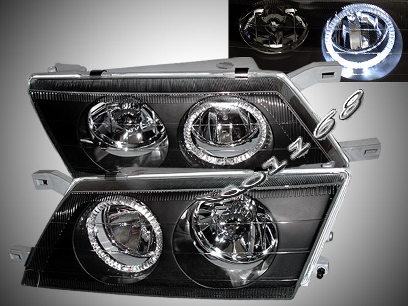 95-99 Nissan Sentra Black Halo Projector Headlights