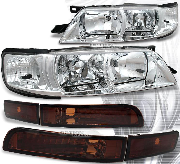 95-99 Nissan Maxima Chrome Crystal Headlights w/Bumper Lights